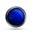 blue trendy glass button round shape vector image vector image