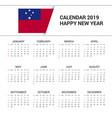 calendar 2019 samoa flag background english