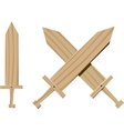 Children wooden swords vector image vector image