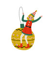 christmas elf character sitting on bauble ball vector image vector image
