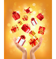 christmas holiday background with hands holding vector image vector image