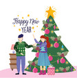 couple with tree gift box merry christmas happy vector image