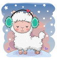 cute cartoon alpaca with fur headphones vector image vector image