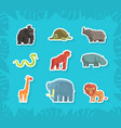 cute jungle animals stickers rhino orangutan vector image vector image
