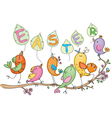 cute singing birds vector image vector image