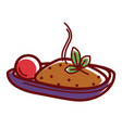 delicious hot pilaf with ripe tomato and herb vector image vector image