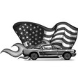 design muscle car with flames vector image