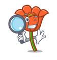 detective poppy flower character cartoon vector image