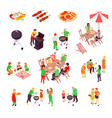 family barbecue picnic isometric icons vector image vector image