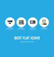 flat icon computer set of pc technology computer vector image