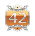 Forty two years anniversary celebration silver vector image vector image