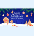 gingerbread background merry christmas and new vector image vector image