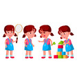 girl kindergarten kid poses set vector image