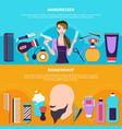 hairdresser colored banner set vector image vector image