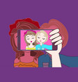 hand hold smart phone taking selfie photo of two vector image