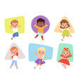 happy kids jumping action childrens in different vector image vector image