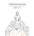 international education - line design style vector image