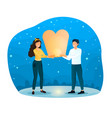 male and female characters are holding sky lantern vector image vector image