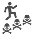 man steps deaths flat icon vector image vector image