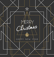 Merry christmas happy new year tree art deco line vector image