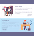 office work poster text sample males sit workplace vector image vector image