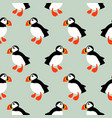 puffin seabird seamless pattern vector image vector image