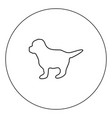 puppy icon black color in circle vector image