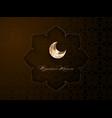 ramadan kareem golden crescent moon arabic style vector image vector image