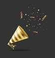 realistic detailed 3d gold hat party vector image vector image