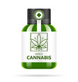 realistic green glass bottle with cannabis mock vector image