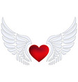 red heart with angel wings vector image vector image