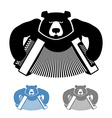 Russian bear with accordion icon flat style Wild vector image