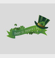 saint patrick day banner with leprechaun hat vector image
