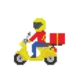 Scooter motorbike fast delivery in pixel art game vector image
