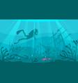 scuba diver explores ship wreckage vector image vector image