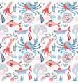sea food seamless pattern with hand drawn doodle vector image