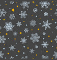 seamless pattern of snowflakes white on gray vector image vector image