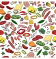 Seamless pattern with different vegetables cheese vector image