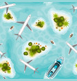 seamless pattern with islands and planes top view vector image