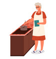 senior lady cooking soup food in kitchen at home vector image