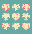 set of color hearts isolated on blue green vector image