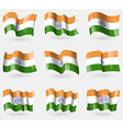 Set of India flags in the air vector image