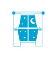 silhouette window with curtain the night and moon vector image