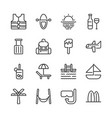 summer and vacation icon set vector image
