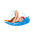 Swimmer swimming retro vector | Price: 1 Credit (USD $1)