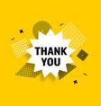 thank you speech bubble banner pop art memphis vector image