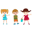 three happy kids vector image
