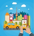 Urban cityscape with cab phone taxi service app vector image vector image