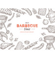 vintage bbq poster barbecue doodle grill chicken vector image vector image