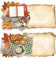 watercolor fall themed banners with vintage vector image